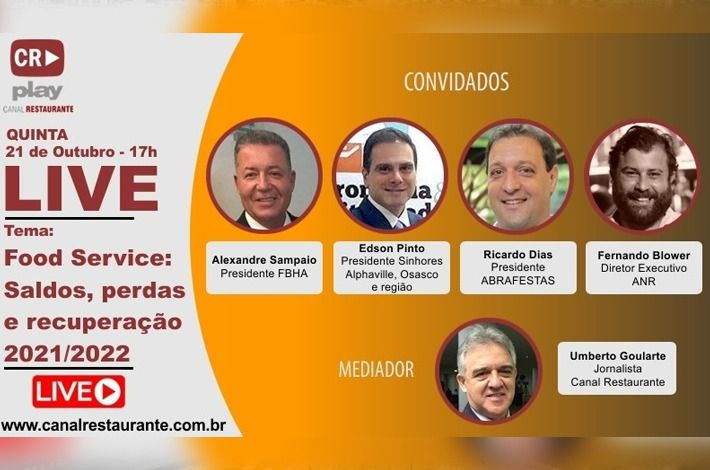 """Presidente Edson Pinto participará de live do """"Canal Restaurante"""" com as principais lideranças do setor"""